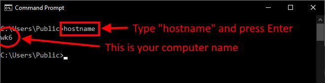 command prompt computer name